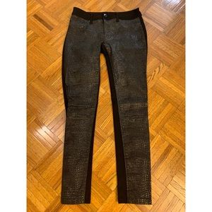 Snake skin leather front jeans